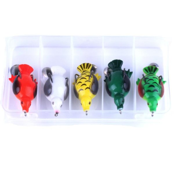 5PCS/Lot Box Packed Frog Fishing Lure Combo 6.5cm 12.6g Platypus Design Soft Bait Artificial Simulation Plastic Lure Fishing Tackle Set