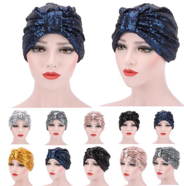 Pailletten Turban Mützen Glitzer Muslim Pop Hüte Indian Hat Hijab Fashion Street Kopfbedeckungen Shiny Beanie Kopftuch Headwrap Kopftuch Stirnband