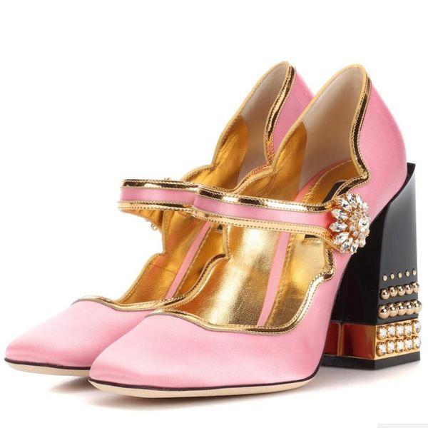 Fashion week 2018 women brand pink silk pumps gold-trimmed shoes block rivets high heels mary janes dress party stilettos vogue