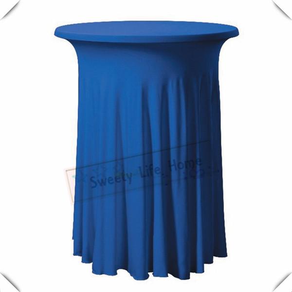 Royal blue color 10pcs Strech spandex Cocktail table cover/ Lycra table cloths 60cm*110cm Rufffled Birthday party decoration
