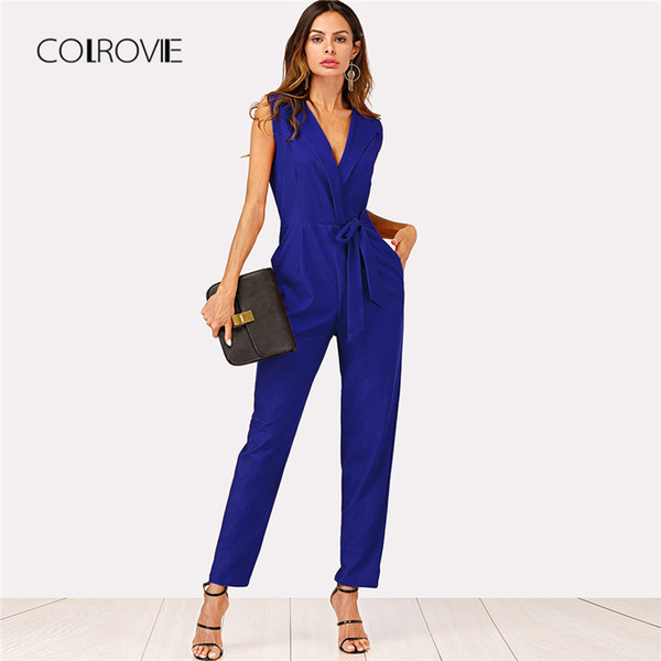 COLROVIE Blue Workwear V neck Zip Back Shawl Collar Knot Women Jumpsuit 2018 Summer High Waist Jumpsuits Overalls For Female