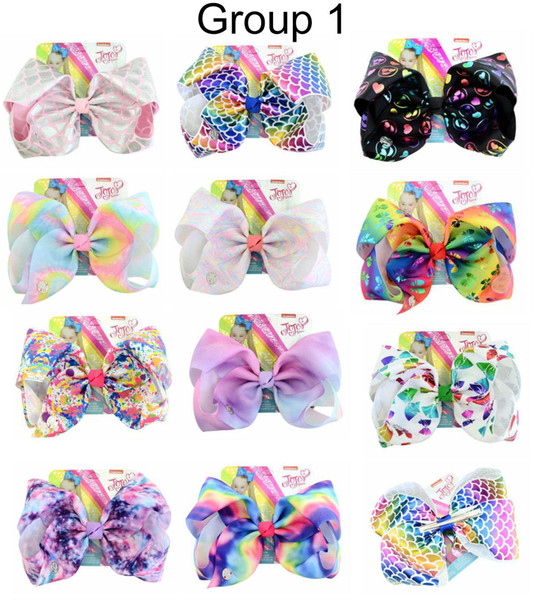 JOJO SIWA 8inch LARGE Rainbow Unicorn Signature hair clip HAIR BOW with card and sequin logo baby girl Children more styles for choice