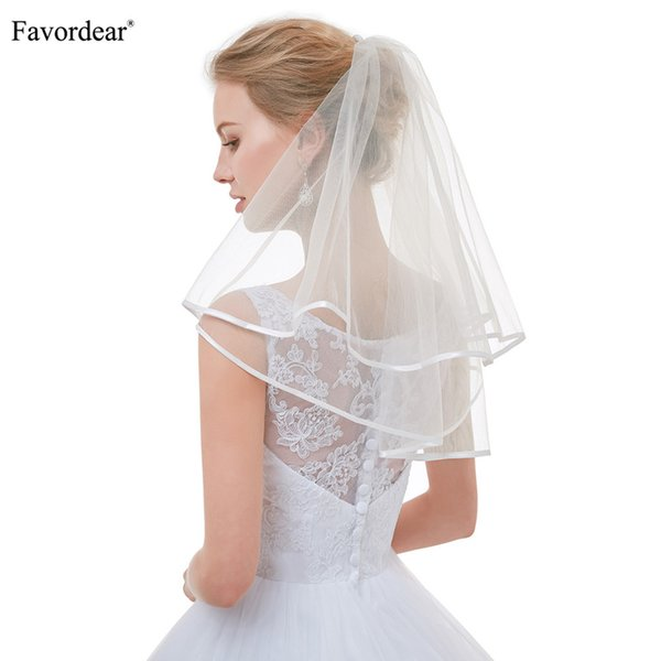 wholesale Top Quality Cute Short Veils for Short Hair Brides Flower Girl Veils Ivory Simple Ribbon Edge Wedding Veil for Brides
