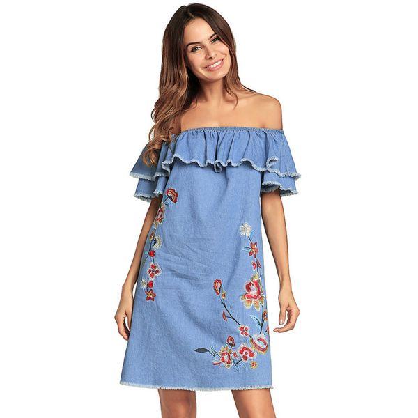 Loose Denim Mini Dress Summer Embroidery Lotus Leaf Sleeve Off Shoulder Dress 2018 Girls Casual Short Dress