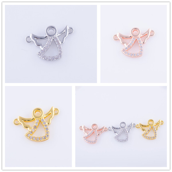 Wholesale DIY Handmade Jewelry Component Findings Copper Metal CZ Rhinestone Angel Charms Earrings Bracelets Necklace Connectors Accessories