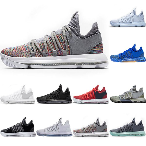 Wholesale 10 KD Kevin Durant Basketball shoes Men BHM Sports Shoes White black Numbers Anniversary Stucco Igloo Multi Color designer sneaker