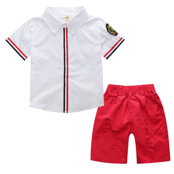Kids Baby Boy Clothes Fashion White Shirt T-shirt Tops+Shorts Pants 2pcs casual red suits Outfits cotton Set 1-6Y
