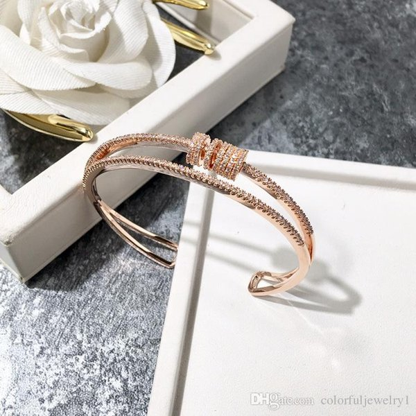 2018 High end fashion brand ladies bracelet Jewelry luxury luxurious Bracelet plated 18K rose gold open bangle