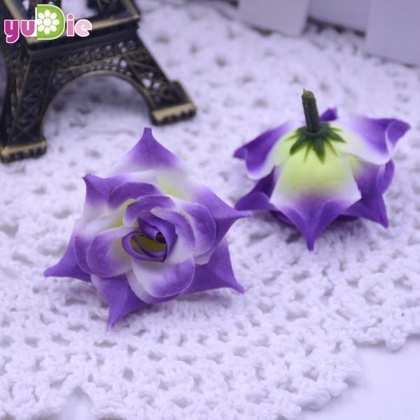 Boda 200 piezas Rosas Artificial Seda Rosa Cabeza Decoración de la boda Diy Joyería Broche Tocado Real Touch Flores artificiales Rosas