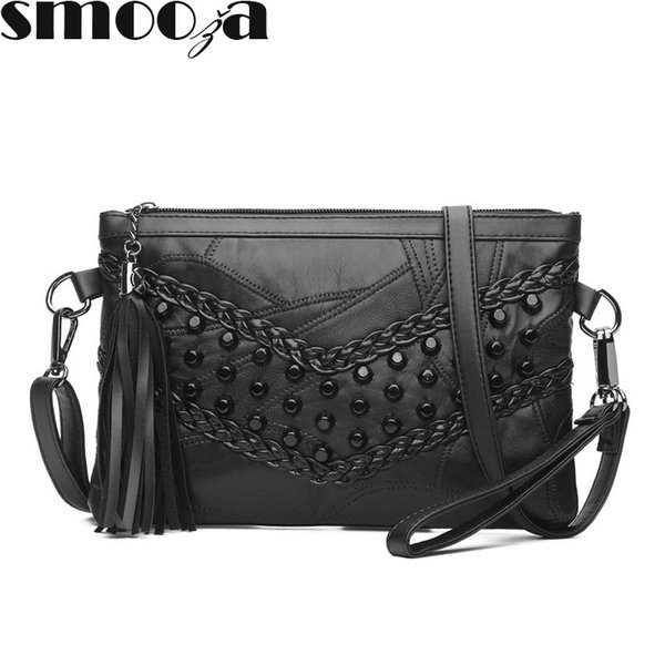 SMOOZA Fashion Tassel Women's Bags Luxury Fringed Handbags Genuine Leather Women Messenger Bag Girls Crossbody Bag Females