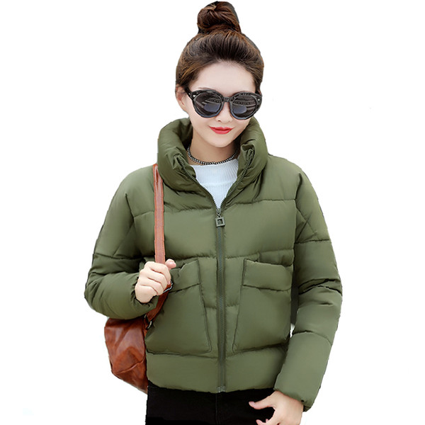 2018 Women Winter Jacket Stand Collar With Two Big Pocket Female Coat Cotton Padded Womens Casaco Feminina Inverno Warm