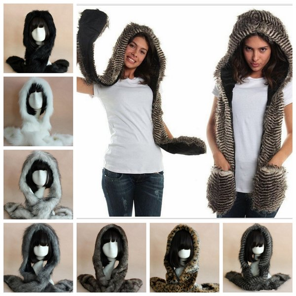 winter Women Faux Fur Hood Scarf Glove 3 in 1 hat warm earmuffs thickening cartoon plush outdoor animal Hooded Scarf Gloves AAA1098