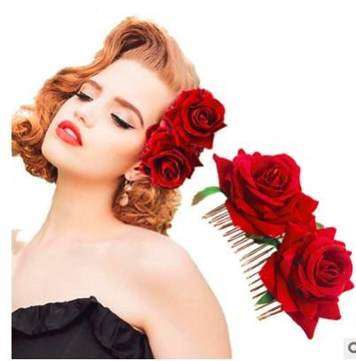 Women Colorful Rose Hairpin Wedding Flower Hair Clips Lady Hair Styling Clip Hair Accessories Pin Flower Brooch Slide Flamenco Dancer