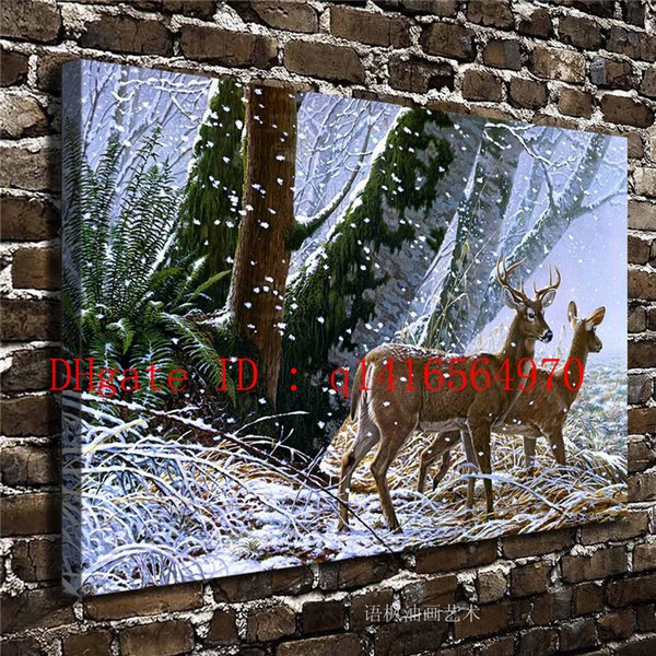 Nature Scenery Animal Deer,Canvas Prints Wall Art Oil Painting Home Decor 16x24 12x18 (Unframed/Framed)