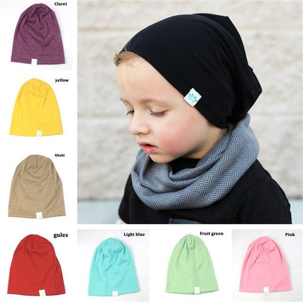 Venta caliente 12 colores moda niños Sombrero hecho punto Color puro sombreros del bebé corona suave sombreros orejas cubierta T3I0348