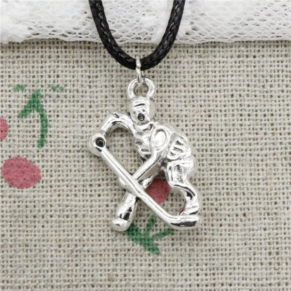 Creative Fashion Antique Silver Pendant hockey player sporter 25*16mm Necklace Choker Charm Black Leather Cord Handmade Jewlery