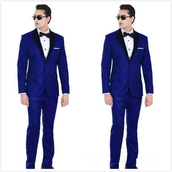 Custom Made Royal Blue Wedding Tuxedos Two Pieces Cheap Groomsmen Suit Black Shawl Lapel Prom Suits Two Buttons Mens Suits(Jacket+Pants+Tie)