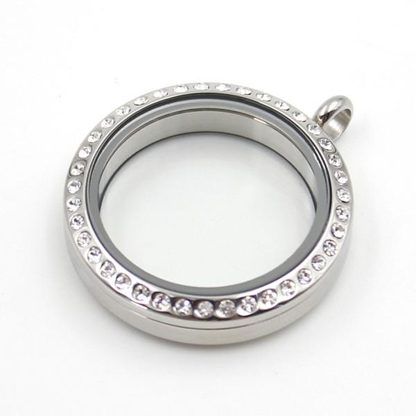 Venda quente 30mm Torcido-off de Prata Cristal Checo de Aço Inoxidável 316L Flutuante Medalhão De Memória Encantos De Vidro Medalhão Pingente (locket apenas)