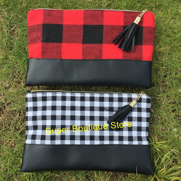 Atacado de alta qualidade monograma personalizar búfalo sacos de maquiagem xadrez mulheres bolsa de embreagem vermelho xadrez preto saco cosmético 2 cores misturadas