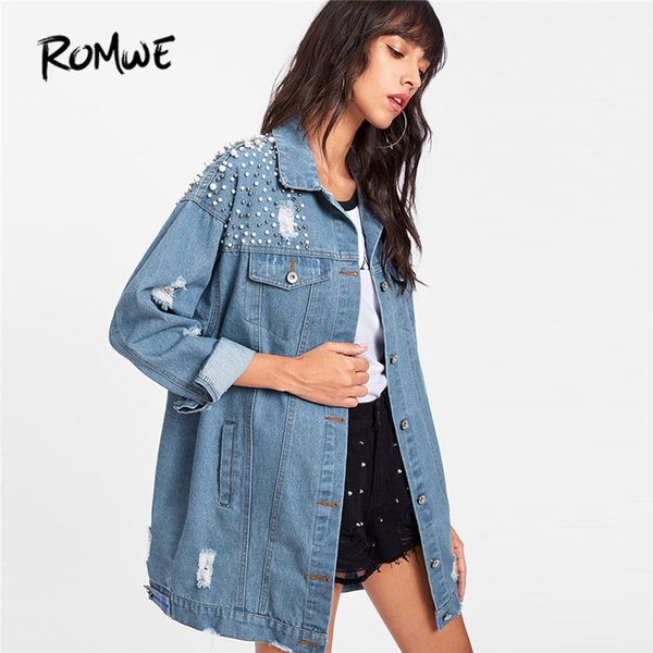ROMWE Pearl Beaded Detail Ripped Denim Jacket 2018 New Spring Single Breasted Women Top Collar Casual Plain Jacket
