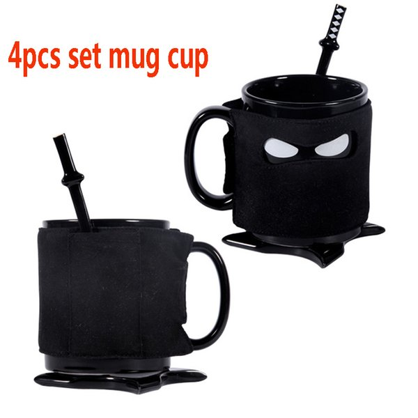 Ninja Mug Cup Ceramic Coffee Cup With Spoon Coaster Mats Ninja Mask Milk Tea Drinking Cup Kitchen Bar Tools XMAs Halloween 4pcs/Set HH7-1327