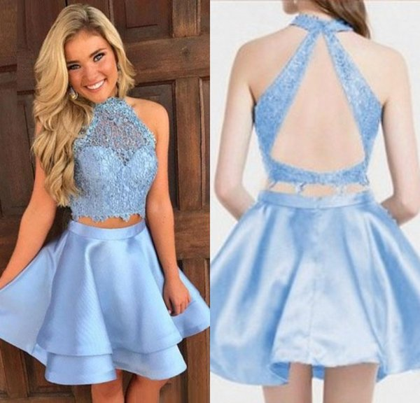 Blue two Pieces Short Cocktail Dresses With Lace Halter A Line Knee Length Evening Gowns Formal Special Occasion Homecoming Party Dresses