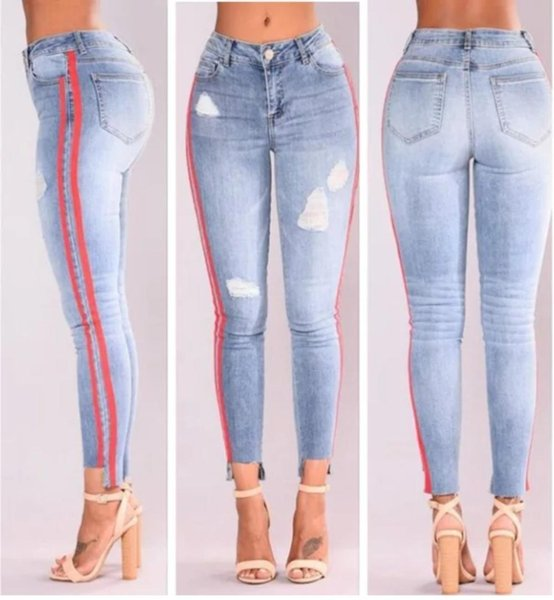 cab26c4bf42f8 High Waist Jeans Woman Ripped Side Striped Skinny Jeans Casual Pencil Pants  New 2018 Plus Size