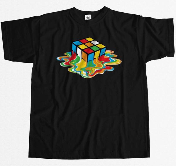 Melting Rubix Cube Sheldon ispirato alla maglietta da uomo The Big Bang Theory