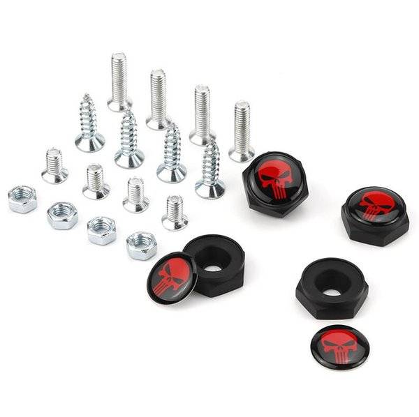 France Germany USA American Flag Red Skull head Black color Auto Aluminum alloy Anti-theft Car License Plate Bolts Frame Screws