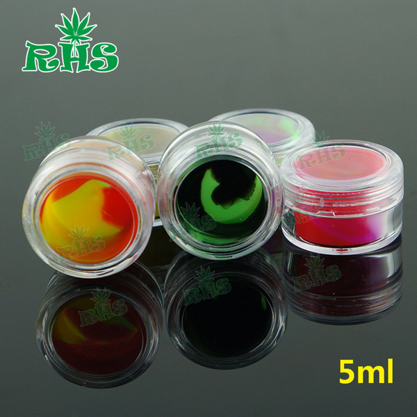 5ml 6ml 7ml 10ml Plastic Storage Containers Clear Silicone Jar Silicone Containers Wax Jars Dab Oil Wax Vaporizer E-Cig Dry Herbs Atomizer