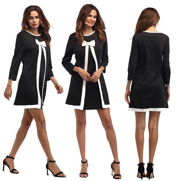 women clothes long sleeve autumn A-Line women dress round neck work short midi party dress robe femme fall black bow dress Vestidos