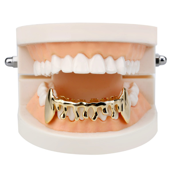 Hiphop sharp teeth tooth brace Grillz copper material gold plated body fashion jewelry Hip-hop rap Dental Grills men bottom teeth Grillz