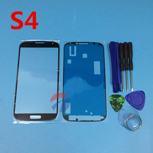 Replacement Outer Glass For galaxy S4 i9500 i9505 LCD Touch Screen Front Glass Outer Lens with open tools & Adhesive