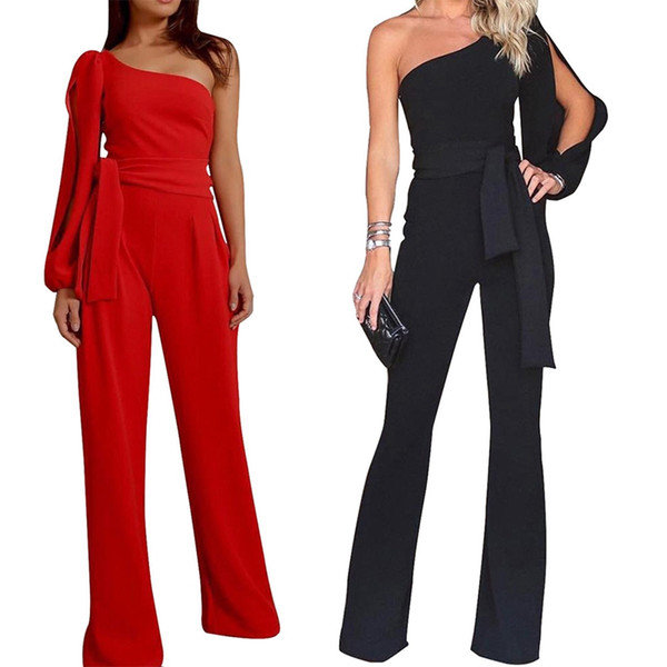 a4ebc396e39 2018 Fashion Women Tie Waist One Shoulder Sexy Jumpsuit Rompers Sleeveless  Wide Leg Pant Casual Playsuit