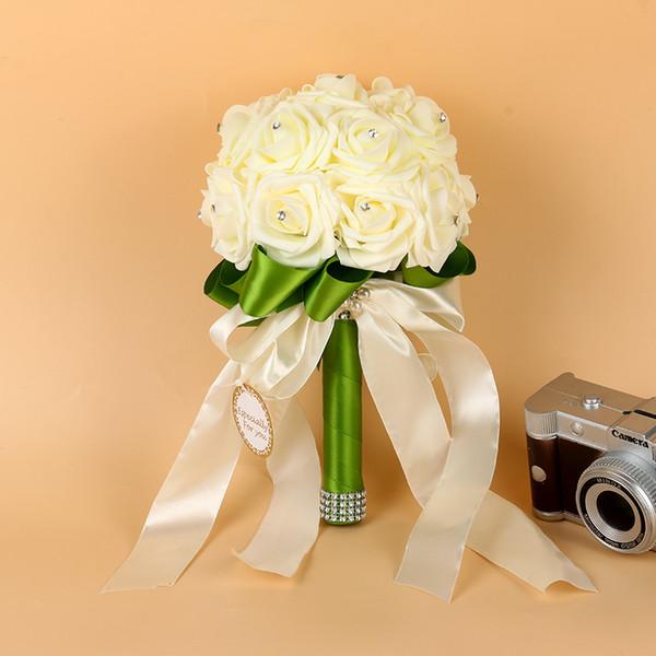 2019 Bridesmaid Wedding Foam flowers Rose Bridal bouquet Ribbon Fake Wedding bouquet de noiva Bouquet De Mariage CPA1564