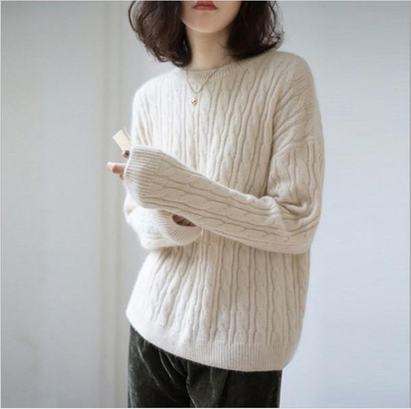 Sencillo otoño e invierno nuevo suéter de cachemira grueso suéter para mujer viento flojo suéter de color sólido camisa de punto suelto tocando fondo mujer