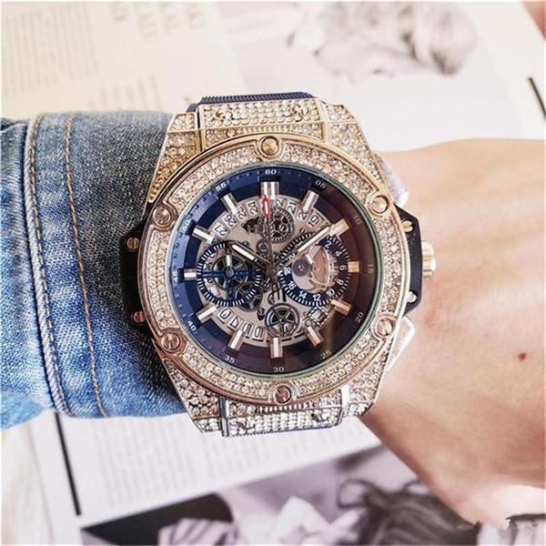 Erkek moda Büyük arama Kuvars Saatler Lüks erkek Tamamen işlevsel kuvars Rhinestone Elmas kakma Saat dial Kuvars Saatler