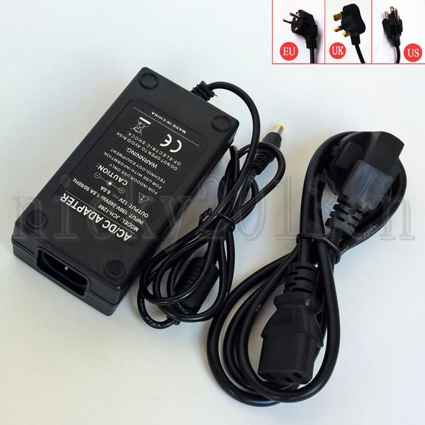 Full Power DC 12V 6A 72W Power Supply Adapter Transformer Switching Black Plastic Non Waterproof US EU UK Universal AC110-240V Input