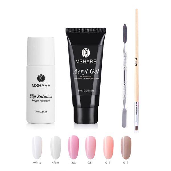 MSHARE Polygel Set kits 4 Pcs Sets UV Acryl Builder Hard Gel Acrylics Tube Slip Solution Palette 60ml Camouflage Nail Gel