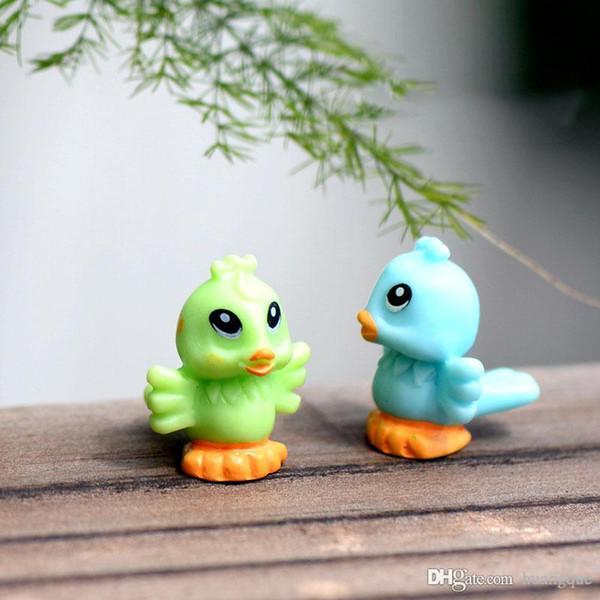 2Pcs Miniature Bird Doll Resin Craft Home Decoration Artificial Cute Animal Desktop Ornament Mini Landscape Fairy Garden Decor