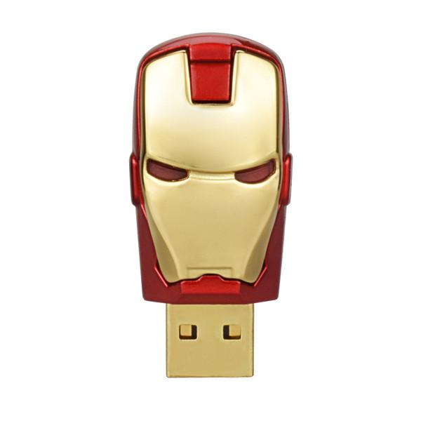 Free Shipping 10PCS/LOT 64MB LED Iron Man USB Flash Drives Thumb Pen Drives Storage for PC Laptop Tablet 64mb USB 2.0 Memory Stick Gold