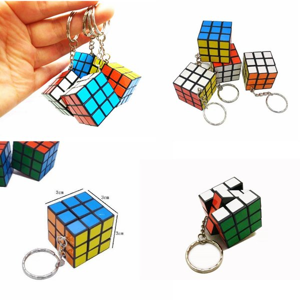 3 X 3 X 3 CM Mini Magic Cube Puzzle KeyChain Toy Pendant Key Ring Square key ring kids toy gift FFA187 1200PCS