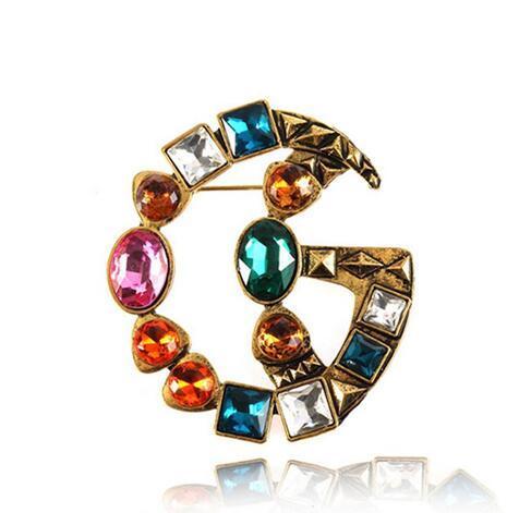 Date Célèbre Marque Designer Rétro Cristal Broche Vintage De Luxe Multicolore Strass Costume Revers Pin Célèbre Marque Bijoux Cadeau