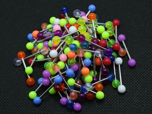 Tongue Rings Mix Colors 100pcs Body Piercing Jewelry Stainless Steel Barbell Acrylic 5mm Ball Earring Christmas Gift