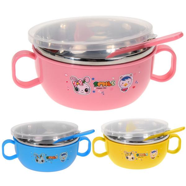 Bebek Besleme Paslanmaz Çelik Öğle Çorba Kasesi Kaşık Paslanmaz Çelik Öğle Yemeği Kutusu Çocuklar Çocuklar için Gıda Konteyner Gıda Kavanoz Pembe Mavi Sarı