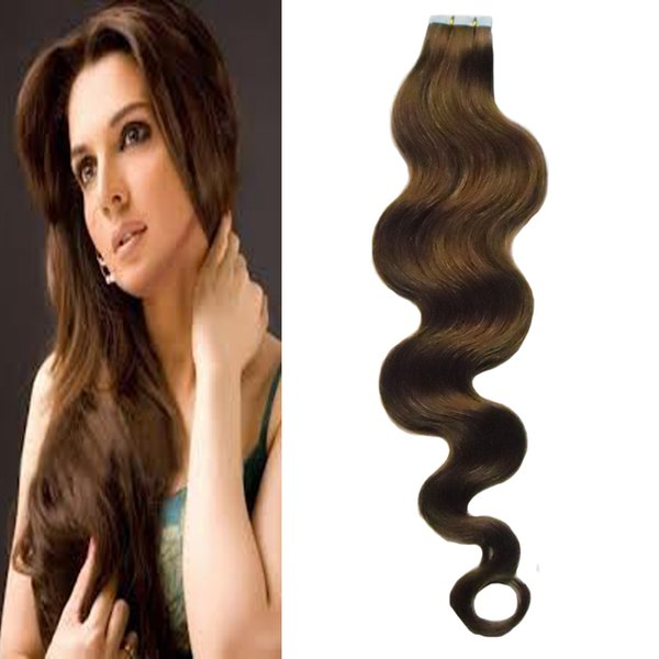 Tape In Human Hair Extensions Body Wave 100g Machine Made Remy Tape In Hair Extensions 40Pcs