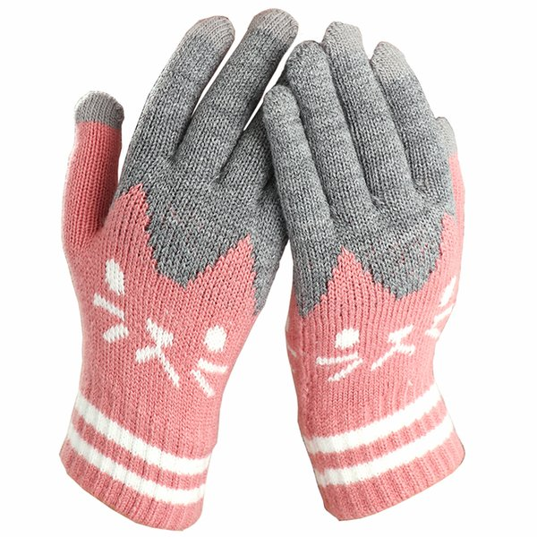 2018 Women Winter Touch Screen Gloves Fashion Cute Cartoon Cat Printed Wool Knitted Full Finger Mittens For Girls Christmas Gift