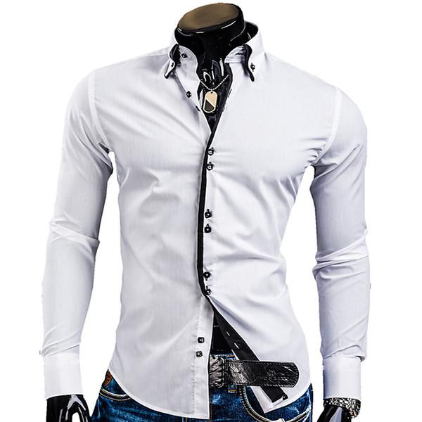 Spring Mens Long Sleeved Dress Shirts Double Collar Button Unique Design Slim Fit Brand Shirts 8 Colors Plus size