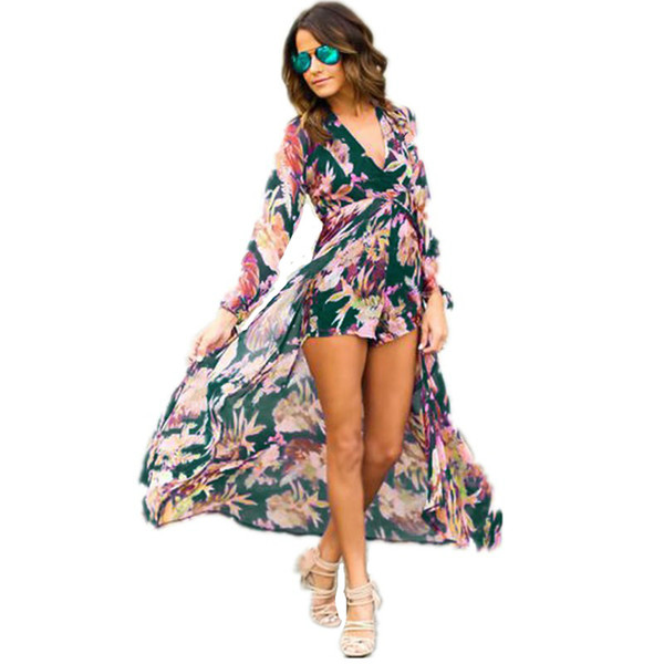 Bohemia Women Sexy Long Dresses V Neck Chiffon Printed Long Sleeve Summer Beach Casual Lady Girl Splited Dress Plus Size White Maxi Dress