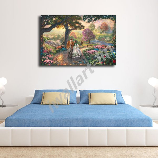 Thomas Kinkade Go with the wind Poster Canvas Painting Oil Framed Wall Art Print Pictures For Living Room Home Decoracion